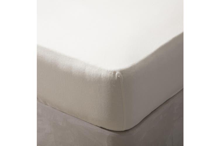 Belledorm Brushed Cotton Fitted Sheet (Cream) (Kingsize)