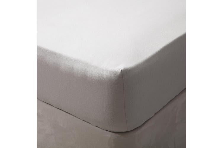 Belledorm Brushed Cotton Fitted Sheet (Grey) (Kingsize)