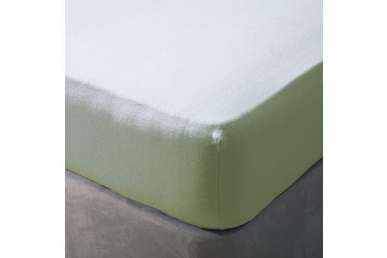 Belledorm Brushed Cotton Fitted Sheet (Green Apple) (Single)