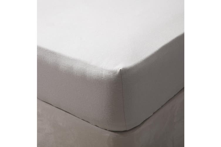 Belledorm Brushed Cotton Fitted Sheet (Grey) (Double)