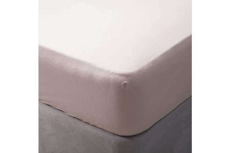 Belledorm Brushed Cotton Fitted Sheet (Powder Pink) (Double)