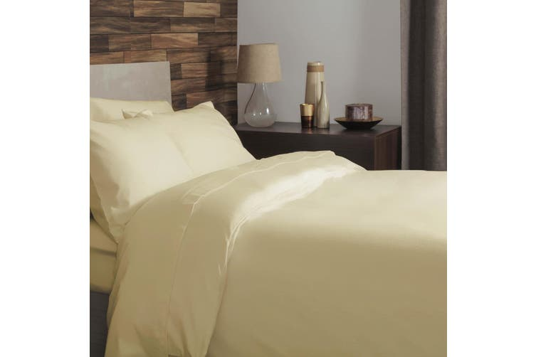 Belledorm Brushed Cotton Duvet Cover (Lemon) (Double)