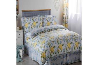 Belledorm Arabella Country Dream Duvet Cover Set (White/Blue/Lemon) (Double)