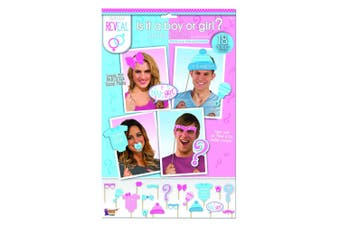 Bristol Novelty Gender Reveal Photo Booth Set (Set Of 18) (Blue/Pink) (One Size)