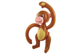 Bristol Novelty Inflatable Monkey (Brown/Yellow/Pink) (58cm)