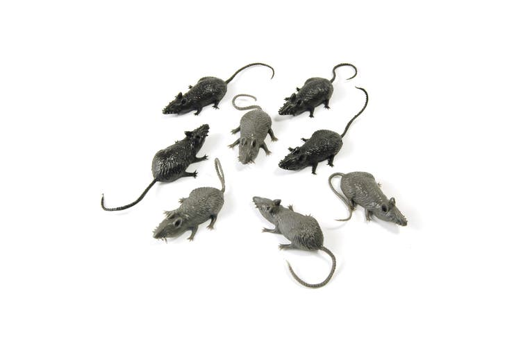 Bristol Novelty Plastic Mice (Pack Of 8) (Black/Grey) (One Size)