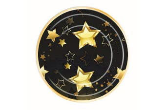 Bristol Novelty Birthday Milestone Party Plates (Pack Of 8) (Black/Gold) (Large)