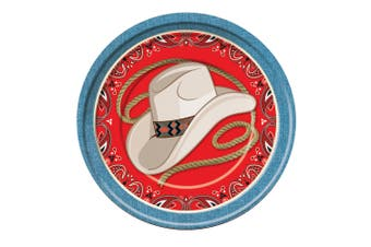 Bristol Novelty Way Out West Dinner Party Plates (Pack Of 8) (Red/Blue/Hat and Rope) (Large)