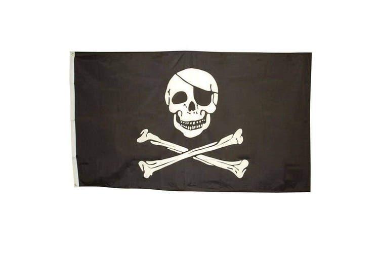 Bristol Novelty Pirate Skull Flag (Black/White) (One Size)