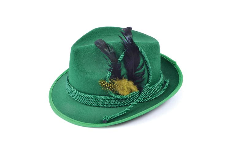 Bristol Novelty Unisex Felt Hat With Feathers (Green) (One Size)