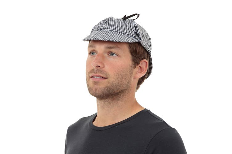 Dick Smith Bristol Novelty Unisex Adults Sherlock Detective Hat Black White One Size Gadgets Novelties Sherlock holmes detective cosplay costume deerstalker hat accessory for adults. dick smith