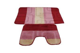 2 Piece Square Design Bath Mat And Pedestal Mat Set (5 Options) (Pink/Beige) (See Description)
