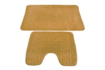 2 Piece Greek Key Pattern Bath Mat And Pedestal Mat Set (Beige) (One Size)
