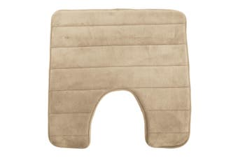Luxury Non Slip Memory Foam Bathroom/Toilet Pedestal Mat (Beige) (50cm x 50cm)