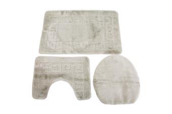 3 Piece Greek Key Pattern Design Bath, Pedestal & Toilet Seat Cover Bathroom Mat Set (Beige) (60 x 100cm)