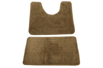 2 Piece Floral Patterned Bath Mat And Pedestal Mat Set (Khaki Green) (One Size)