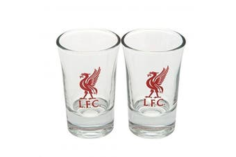 Liverpool FC Two Pack Word Mark Shot Glasses (Transparent/Red) (One Size)