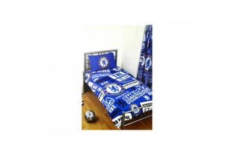 Chelsea FC Official Football Patch Single Duvet And Pillow Case Set (Blue/White) (One Size)
