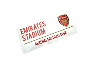 Arsenal FC Metal Text Street Sign (White/Red) (One Size)