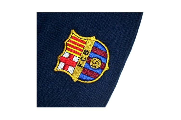 FC Barcelona Official Football Knitted Beanie Hat (Navy) (One Size)
