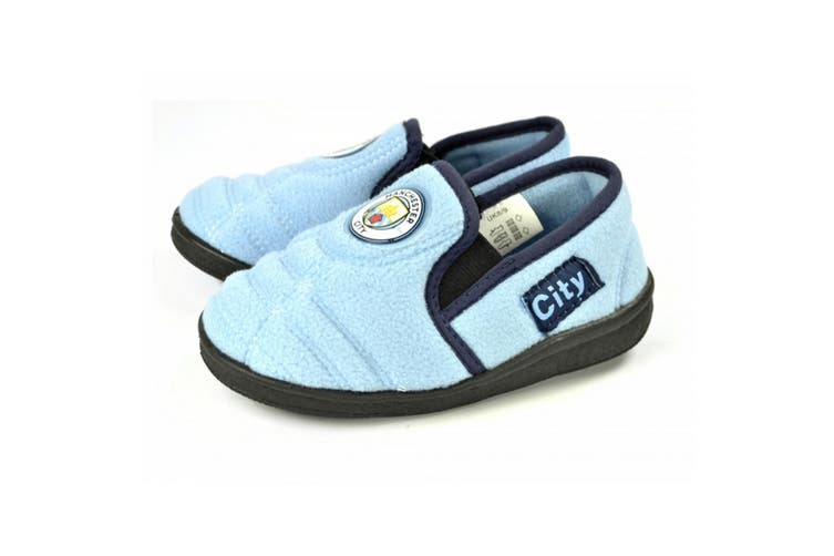 Manchester City FC Official Childrens/Kids Football Goal Heel Slippers (Blue) (6/7 Child UK)