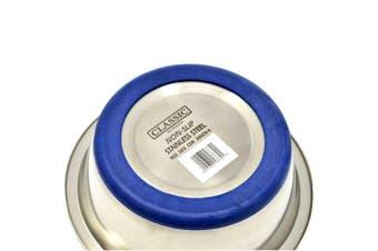 Caldex Classic Non Slip Steel Cat Dish (Silver) (21.5cm)
