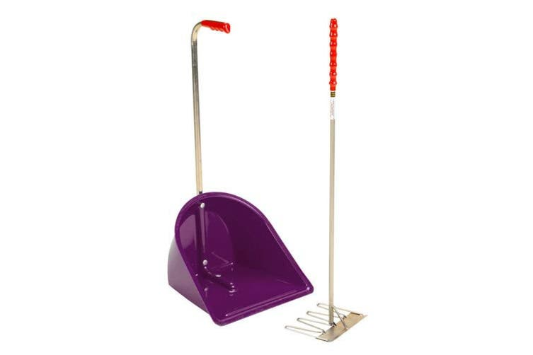 Stubbs Stable Mate Manure Collector With Long Handle Rake (Purple) (One Size)