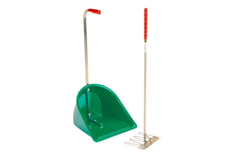 Stubbs Stable Mate Manure Collector With Long Handle Rake (Green) (One Size)