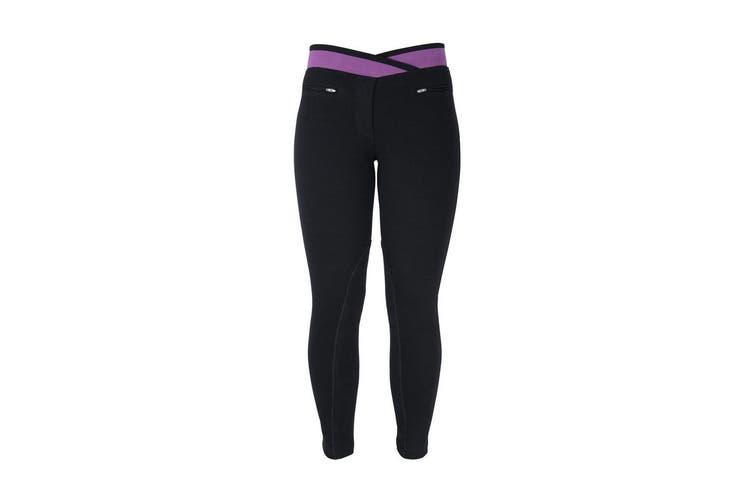 HyPERFORMANCE Womens/Ladies Brixton Elasticated Jodhpurs (Black/Purple) (26in)