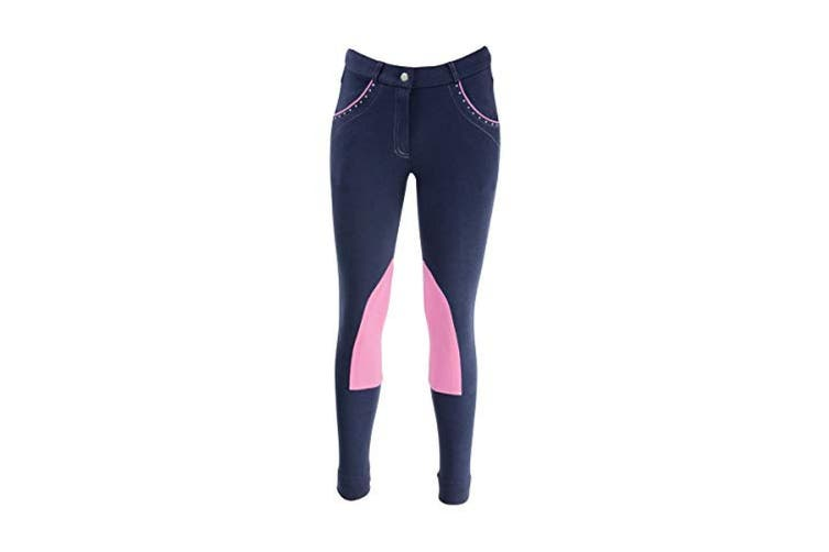HyPERFORMANCE Childrens/Kids Darcy Diamante Mizs Jodhpurs (Navy/Pink) (30in)