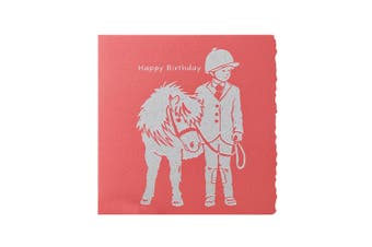Deckled Edge Colour Block Pony Greetings Card (Happy Birthday - Child with Pony (Red)) (One Size)