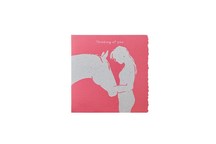 Deckled Edge Colour Block Pony Greetings Card (Thinking Of You - Woman and Pony (Dark Pink)) (One Size)