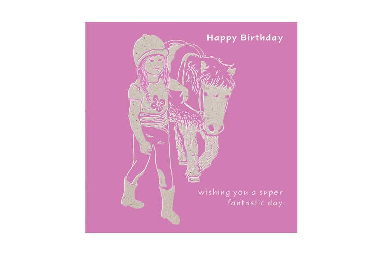 Deckled Edge Colour Block Pony Greetings Card (Happy Birthday - Girl with Pony (Lilac)) (One Size)