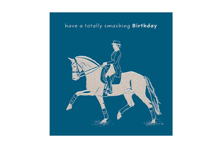 Deckled Edge Colour Block Pony Greetings Card (Smashing Birthday - Horse and Rider (Dark Blue)) (One Size)