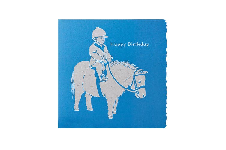 Deckled Edge Colour Block Pony Greetings Card (Happy Birthday - Child and Shetland Pony (Blue)) (One Size)