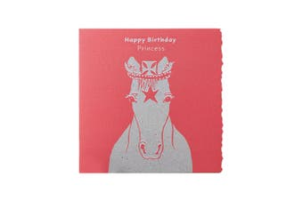 Deckled Edge Colour Block Pony Greetings Card (Happy Birthday Princess - Princess Pony (Red)) (One Size)