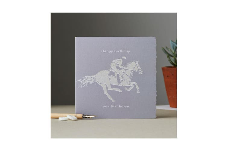 Deckled Edge Colour Block Pony Greetings Card (Happy Birthday You Fast Horse - Racehorse (Grey)) (One Size)