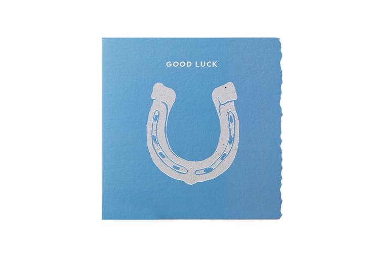 Deckled Edge Colour Block Pony Greetings Card (Good Luck - Horseshoe (Blue)) (One Size)