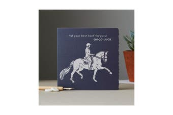 Deckled Edge Colour Block Pony Greetings Card (Put Your Best Hoof Forward Good Luck - Dressage Horse (Navy)) (One Size)