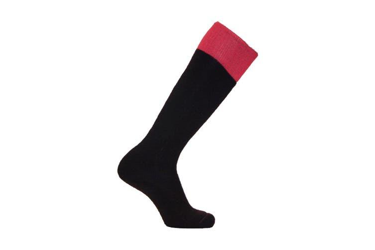 SockMine Unisex Two Tone Welly Socks (Pack Of 3) (Navy/Pink) (4-5.5 UK)