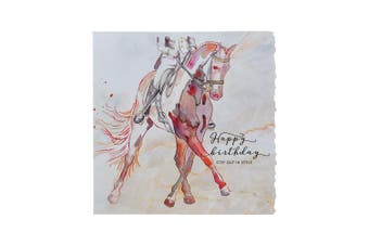 Deckled Edge Fanciful Dolomite Greetings Card (Birthday Step Out In Style - Dressage (Multicoloured)) (One Size)