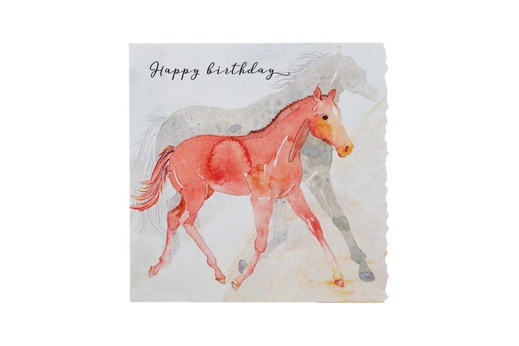Deckled Edge Fanciful Dolomite Greetings Card (Happy Birthday - Foal (White/Red)) (One Size)