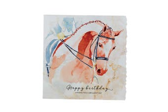 Deckled Edge Fanciful Dolomite Greetings Card (Happy Birthday - Dressage Horse (Multicoloured)) (One Size)