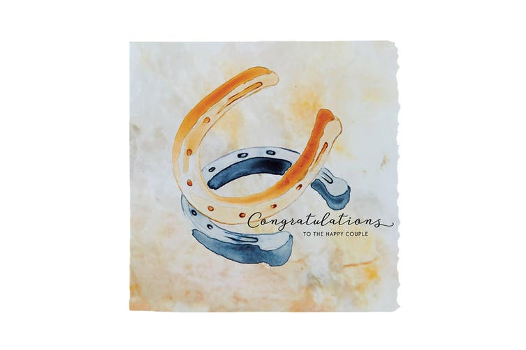 Deckled Edge Fanciful Dolomite Greetings Card (To The Happy Couple - Horseshoes (Amber/Blue)) (One Size)