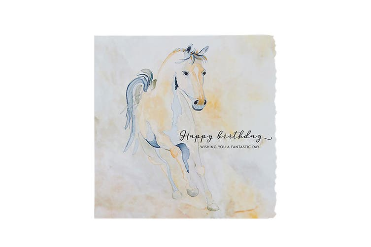 Deckled Edge Fanciful Dolomite Greetings Card (Happy Birthday - Running Foal (Multicoloured)) (One Size)