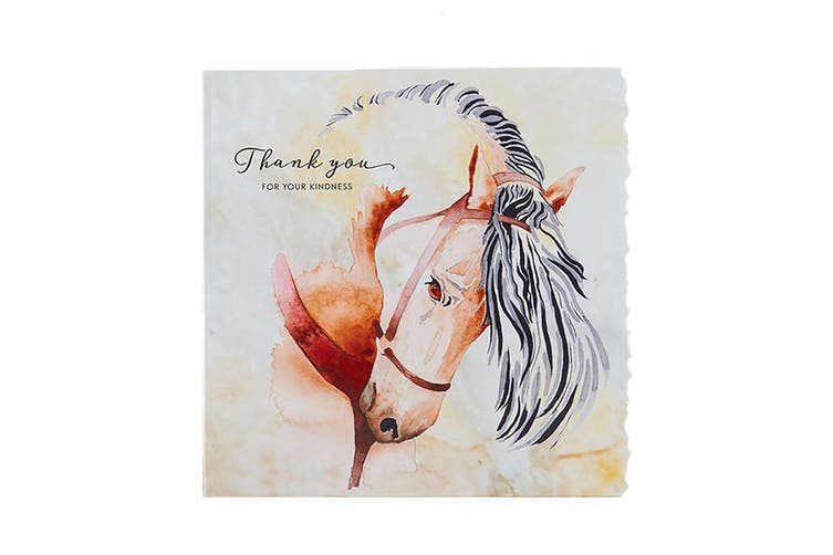 Deckled Edge Fanciful Dolomite Greetings Card (Thank You For Your Kindness - Horse (Multicoloured)) (One Size)