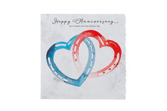 Deckled Edge Fanciful Dolomite Greetings Card (Happy Anniversary - Horseshoe Hearts (Blue/Red)) (One Size)