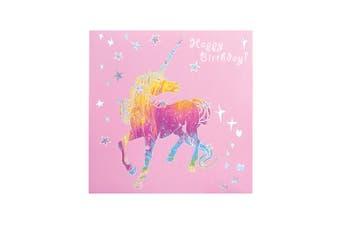 Deckled Edge Prancing Myth Greetings Card (Happy Birthday - Unicorn (Pink/Rainbow/Silver)) (One Size)
