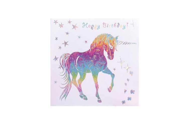 Deckled Edge Prancing Myth Greetings Card (Happy Birthday - Unicorn (White/Rainbow)) (One Size)