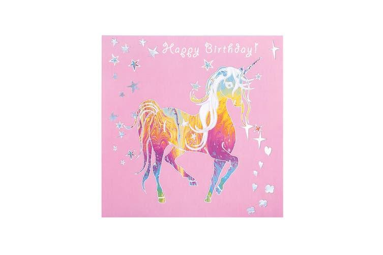 Deckled Edge Prancing Myth Greetings Card (Happy Birthday - Trotting Unicorn (Pink/Rainbow/Silver)) (One Size)